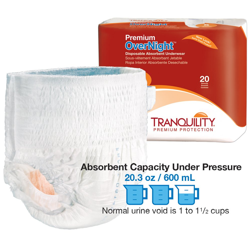 Amazon.com: Tranquility Premium OverNight Disposable Absorbent Underwear (DAU) - XS - 88 ct: Health & Personal Care