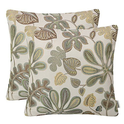 Set of 2 Mika Home Jacquard Tropical Leaf Pattern Throw Pillow Covers Decorative Pillowcase 20X20 Inches,Green Cream