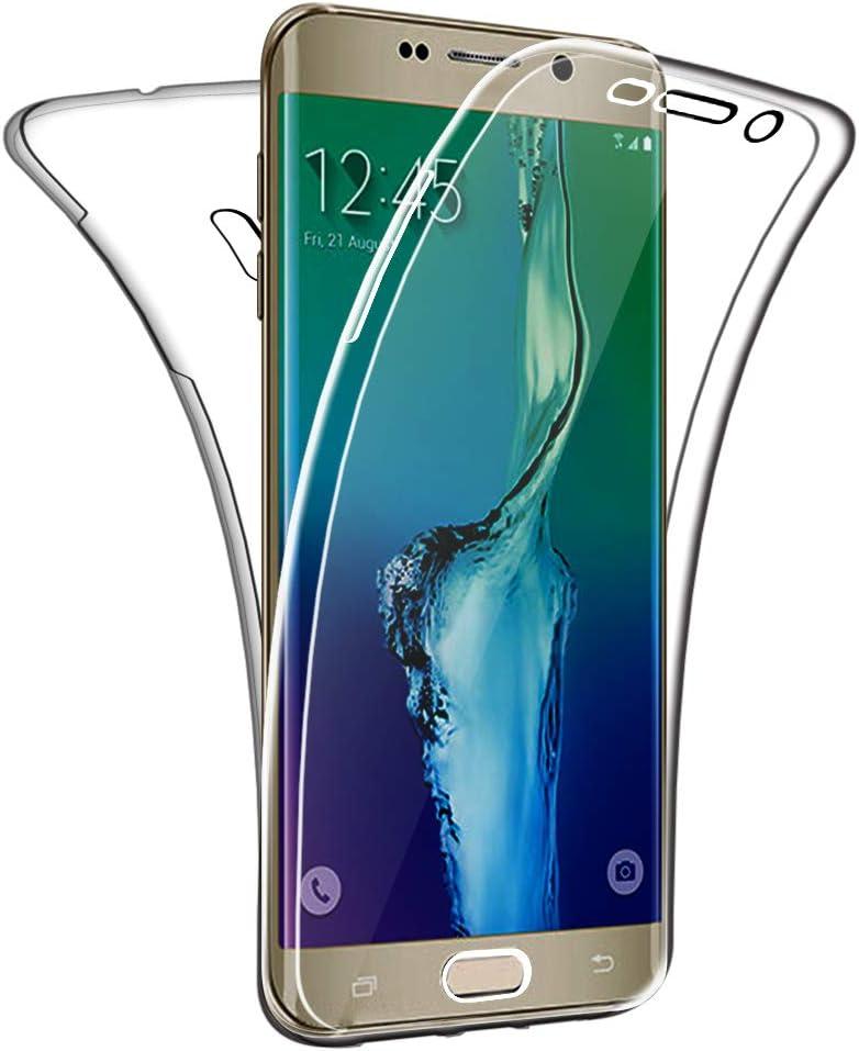 SDTEK Funda para Samsung Galaxy S6 Edge+ Plus 360 Doble Delantera [Transparente Carcasa] Full Body Case Bumper Cover Suave Silicona Samsung Galaxy S6 Edge+ Plus
