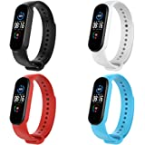 KOMI Replacement Band Compatible with Xiaomi Mi Band 5/mi band 6, Silicone Bracelet Wristband Sport Fitness Strap (A-4pcs)