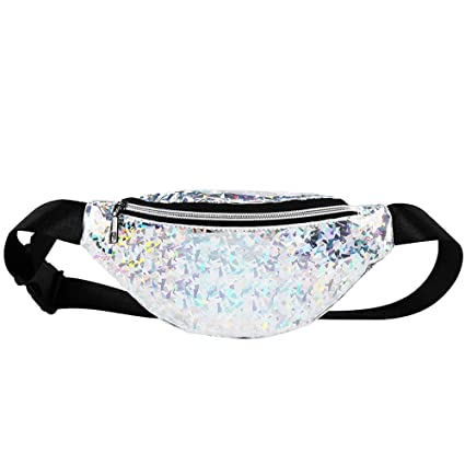6178c9801b86 Amazon.com: Yiwanjia Glitter Waist Pack Sparkly Crossbody Bag Shine ...
