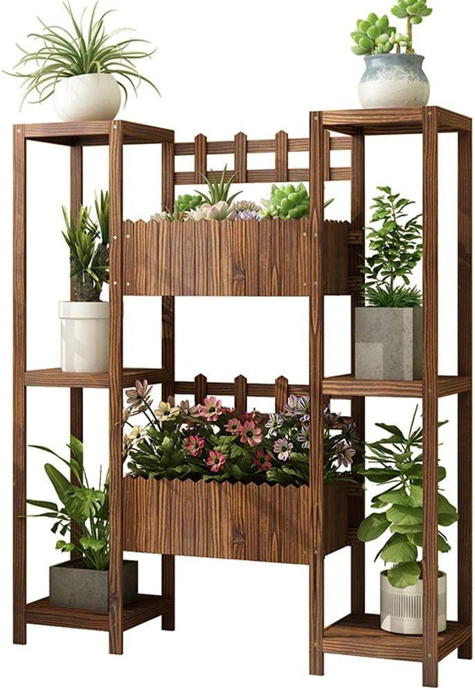 IUYWL Massivholz-Blumentopf Rack-Balkon Fussboden Mehrschichtige Innen- und Außenblumentrog-Rack Blumenstand (Size : 100x28x120cm)