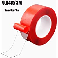 Nano Tape Traceless Washable Adhesive Tape Reusable Nano Tape Double-Sided Removable Tape for Home Wall Room Office Decor Phones Pictures Household (red, 1mm*3cm*3m) (red)