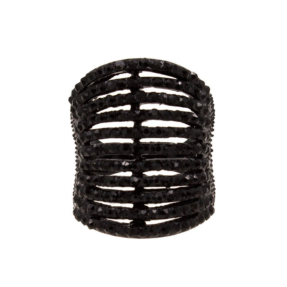 Lavencious 11 Rows Ring Fashion Crystal Cocktail Wedding Party Jewelry for Women (Jet Black, 12)