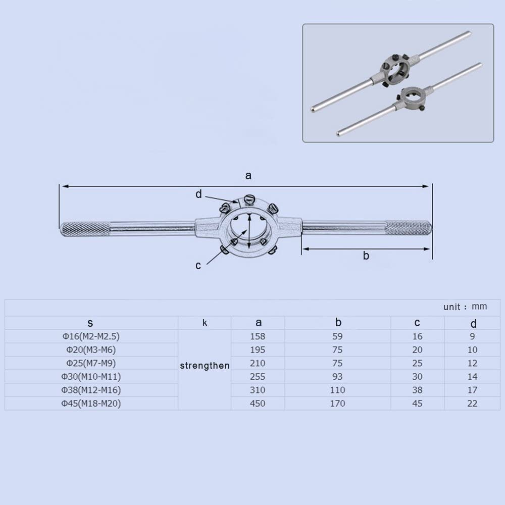 Souarts 45mm 1-3//4 Diameter Adjustable Die Handle Round Die Stock Die Wrench Holder