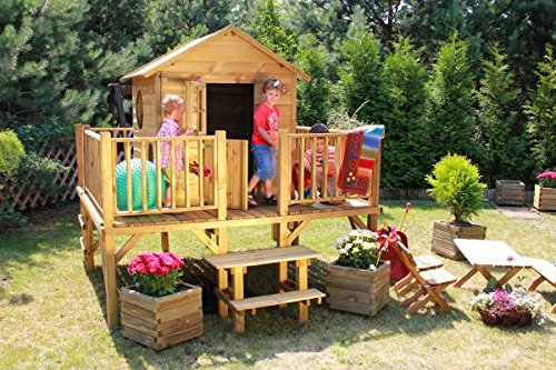 Baumotte Spielhaus Holz Kinderspielhaus Ernie Mit Rutsche