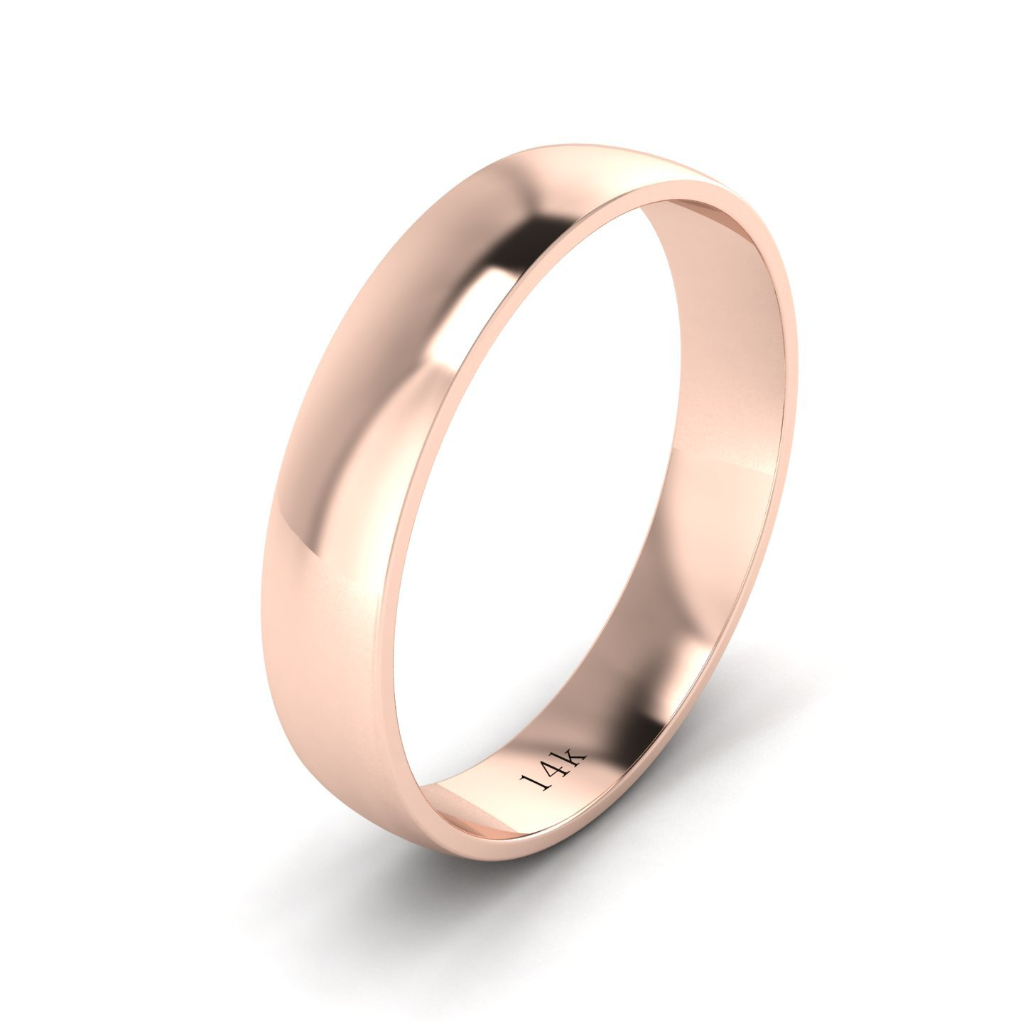 Unisex 14k Rose Gold 4mm Light Court Shape Comfort Fit Polished Wedding Ring Plain Band (6)