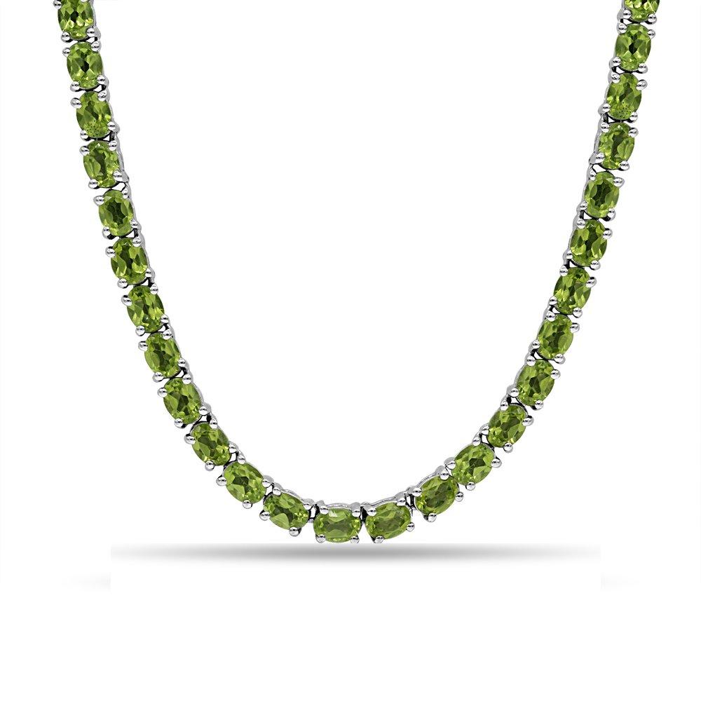 Fine Peridot Necklace in Sterling Silver