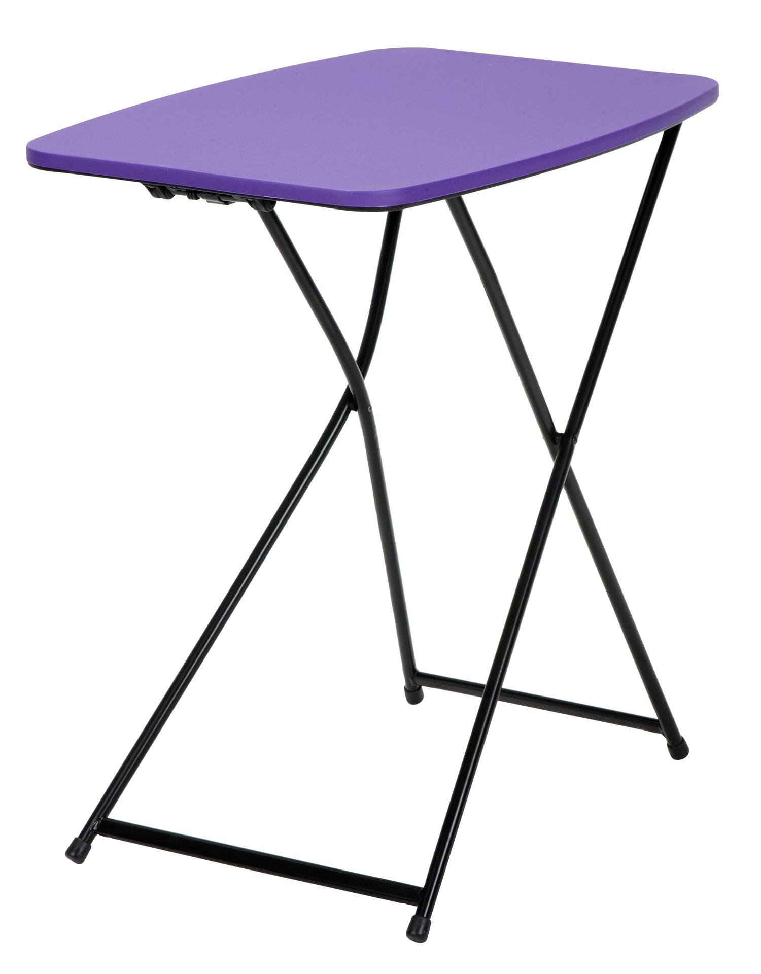 COSCO 18'' x 26'' Indoor Outdoor Adjustable Height Personal Folding Tailgate Table, Purple, 2-pack