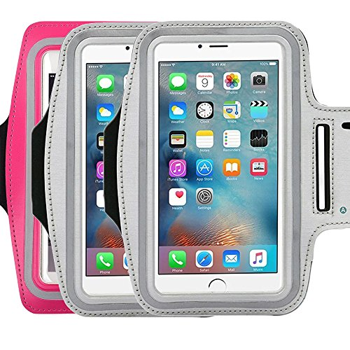 Water Resistant Sports running Armband,3Pack CaseHQ sporty sweat proof Arm Bag armband case with Key Holder for iPhone 7 7plus 6 Plus 6S Plus,Samsung Galaxy S6/S5, Note 4 Bundle with Screen Protector (Women Iced Gel)