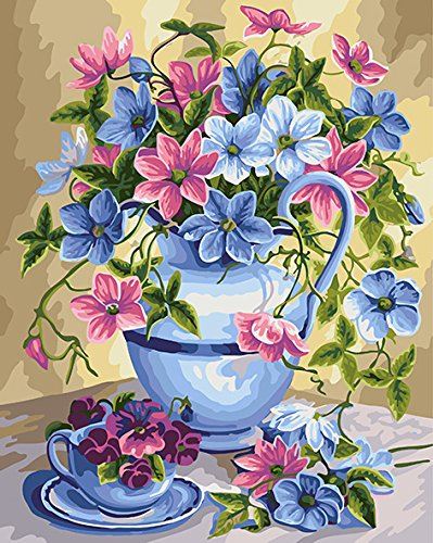 [Wooden Framed] DoMyArt Paint by Number Kit On Canvas for Adults Beginner - Flower Jug 16X20 Inch