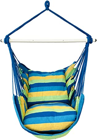 Amazon Com Highwild Hanging Rope Hammock Chair Swing Seat For Any Indoor Or Outdoor Spaces 500 Lbs Weight Capacity 2 Seat Cushions Included Blue Green Furniture Decor