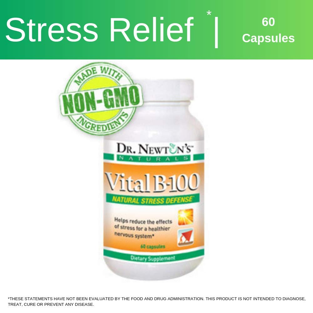 Dr Newton's Naturals Vital B100 Vitamin B Complex Supplement - Stress Relief - Increased Energy - Improved Mood - 60 Capsules