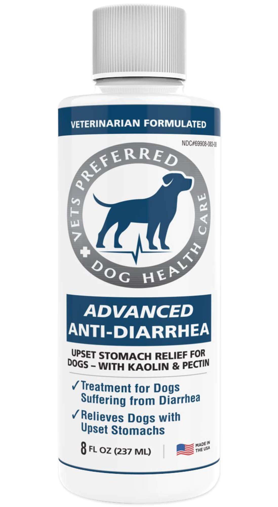 Vets Preferred Advanced Anti Diarrhea Liquid   Veterinarian-Grade Anti Diarrhea Dogs Solution   Fast Relief for Dog Diarrhea, Upset Stomach, Cramping, and Discomfort with Kaolin and Pectin (8 oz.) by Vets Preferred