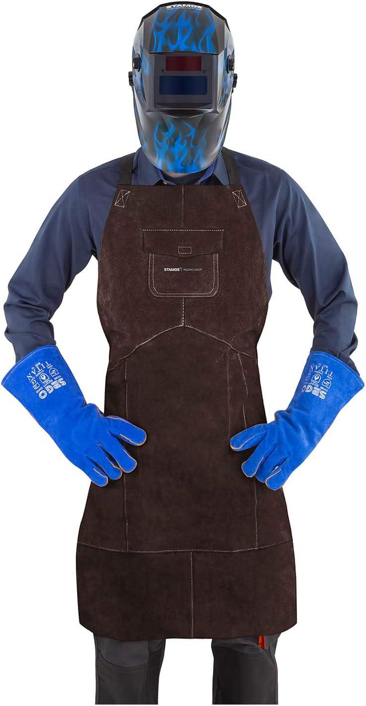 Taglia L, Crosta di Pelle Bovina, KEVLAR/®, Marrone Stamos Welding Group Grembiule in Pelle per Saldatore Grembiule Protettivo SWA03L