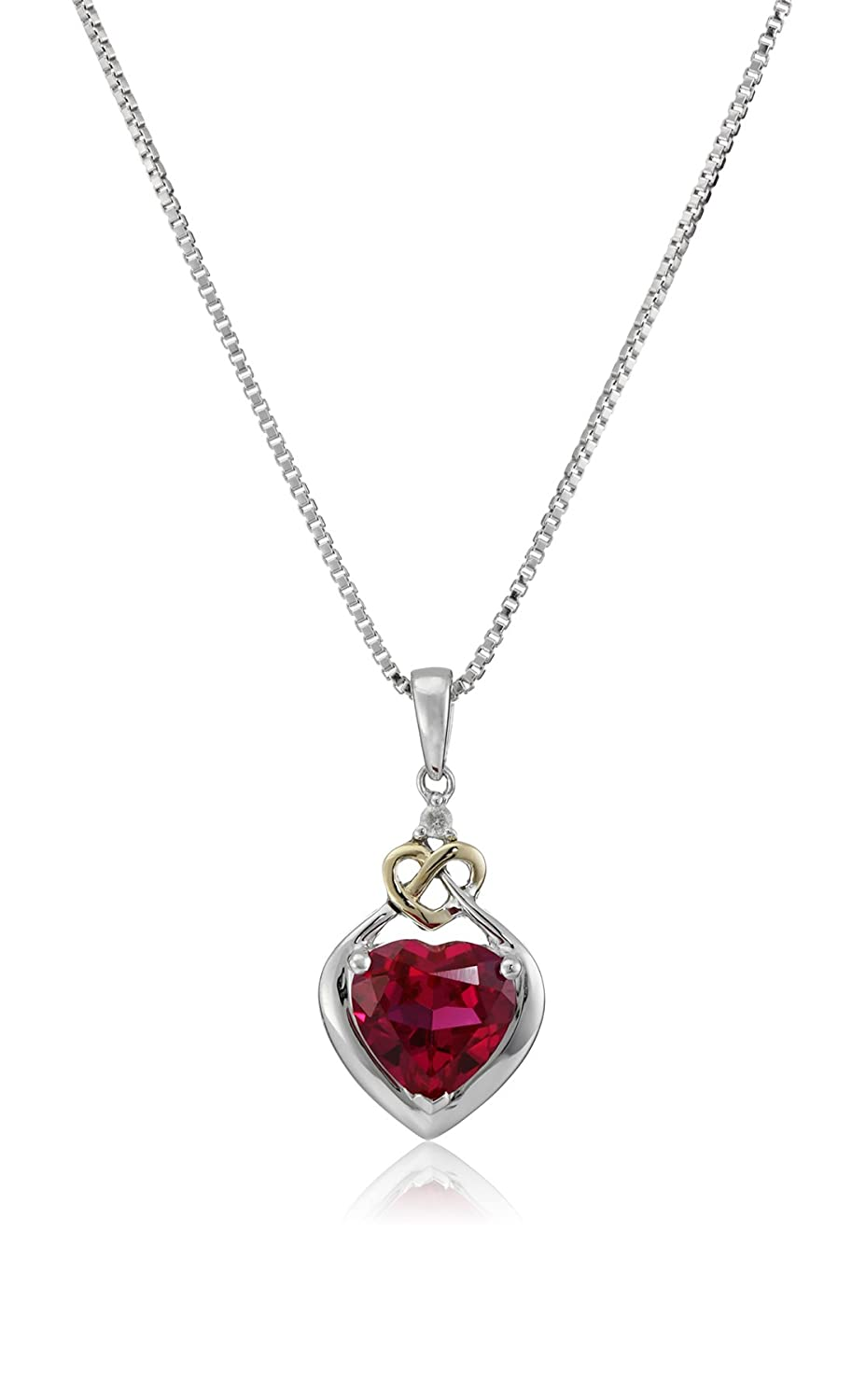 Amazon love knot sterling silver and 14k yellow gold diamond amazon love knot sterling silver and 14k yellow gold diamond and heart shaped created ruby pendant necklace 18 ruby necklaces for women jewelry aloadofball Gallery