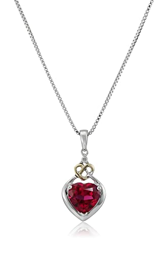 Amazon love knot sterling silver and 14k yellow gold diamond love knot sterling silver and 14k yellow gold diamond and heart shaped created ruby pendant aloadofball Gallery