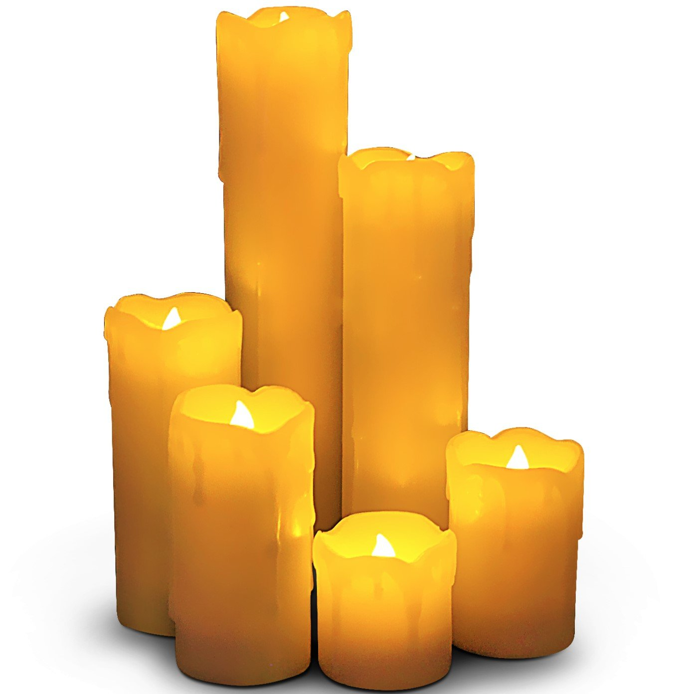 LED Lytes Timer LED Candles - Slim Set of 6, 2'' Wide and 2''- 9'' Tall, Ivory dripping Wax and Flickering Amber Yellow Flame Battery Operated Electric Candle