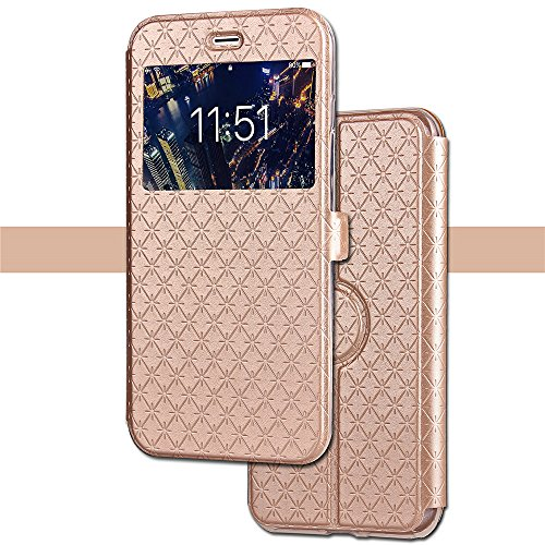 Wallet Leather Case for iPhone X, Smart Window Ultrathin case with Card Slot/Strap, 360 Full Body Drop Protective Magnetic Kickstand Flip Folio Cover for iPhone X Edition/iPhone 10 (5.8)-Gold - Icon Womens Wallet