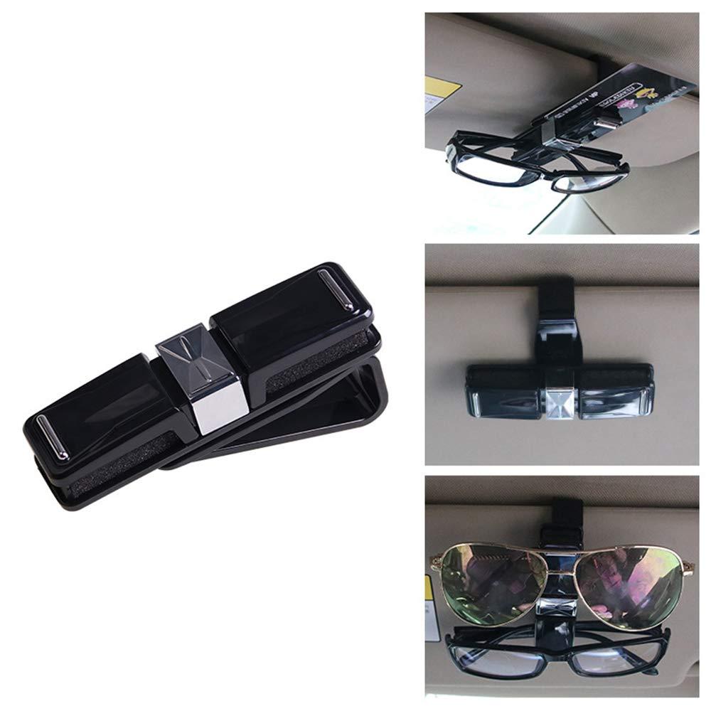 Double-Ends Sunglasses Holder Clip Hanger Car Visor Sunglasses Ticket Clip Holder with Ticket Card Clip 1 Pack Black Gechiqno Car Eyeglasses Holder Eyeglasses Mount for Car