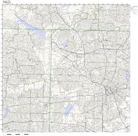 Amazon Com Irving Tx Zip Code Map Laminated Home Kitchen