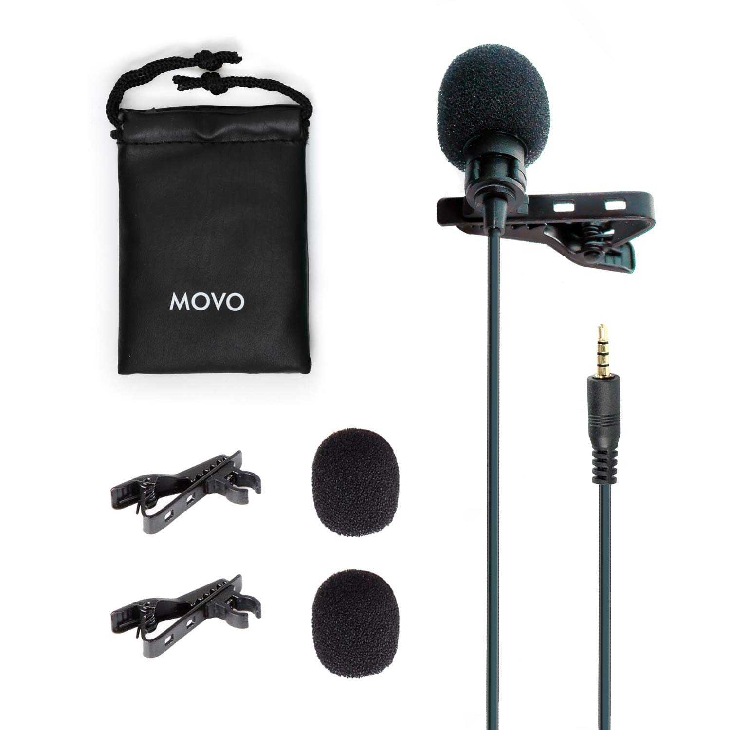 Movo PM10 Professional Lavalier Lapel Clip-on Omnidirectional Microphone for iOS iPhone, iPad, iPod Touch and Android Samsung Smartphone/Tablet for Recording Podcast, Vlog, Interview, YouTube, ASMR by Movo