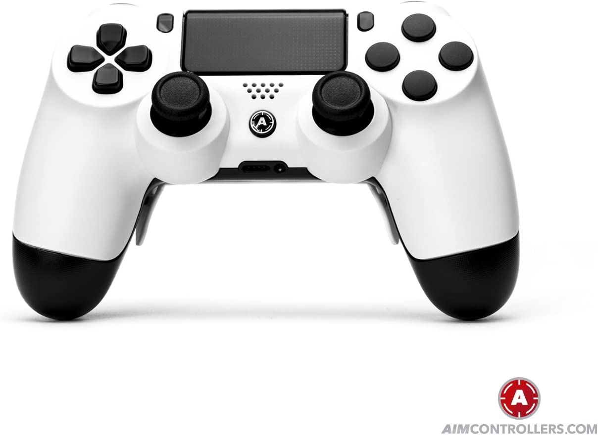 PS4 Slim DualShock 4 PlayStation 4 Wireless Controller - Custom AimController White Matt with 4 Paddles. Upper Left Square, Lower Left X, Upper Right Triangle, Lower ...