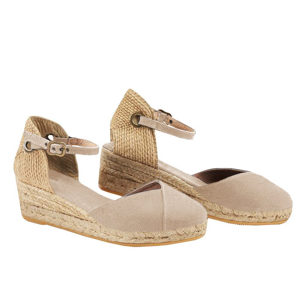 Ermonn Womens Platform Wedge Sandals Closed Toe Lace up Ankle Strap Espadrille Sandals (8.5 B(M) US, Light Khaki)