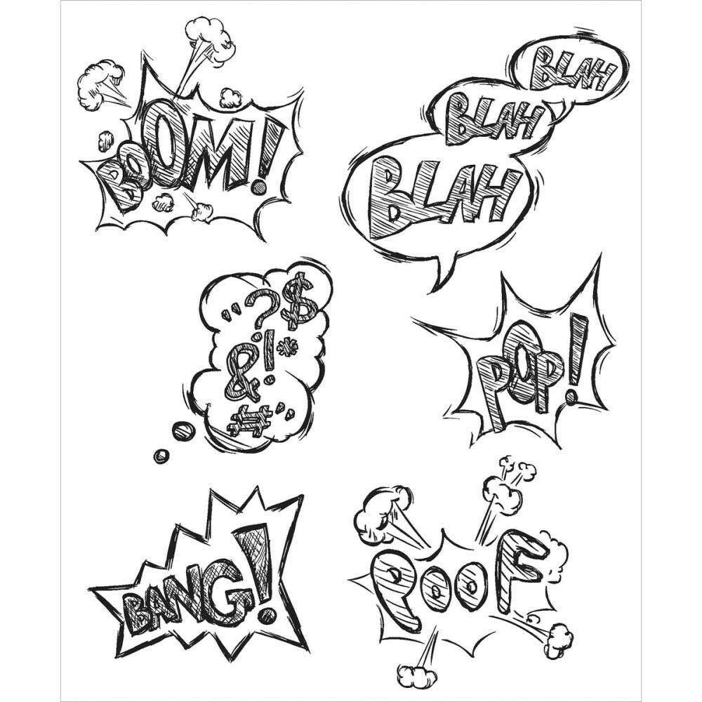 ShopForAllYou Stamping & Embossing Crazy Thoughts Rubber Cling Stamp Collection New Comic Cartoon pop Art