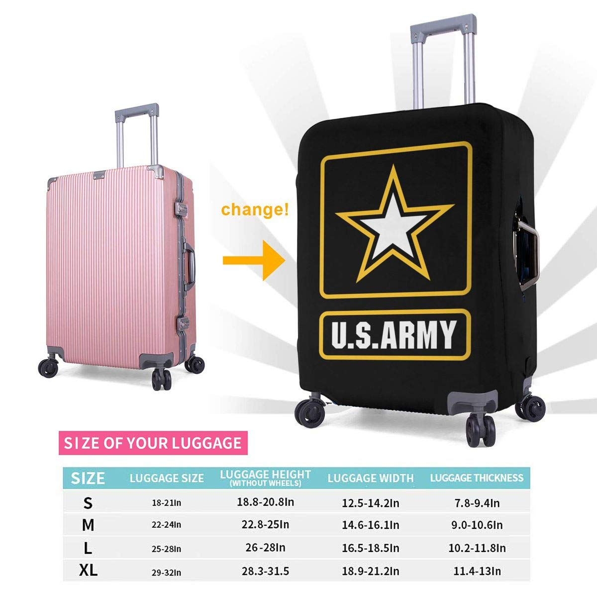 US Army Star Elastic Travel Luggage Cover,Double Print Fashion Washable Suitcase Protective Cover Fits 18-32inch Luggage