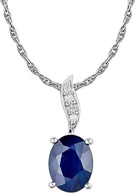 10k White Gold Oval Sapphire And Diamond Pendant