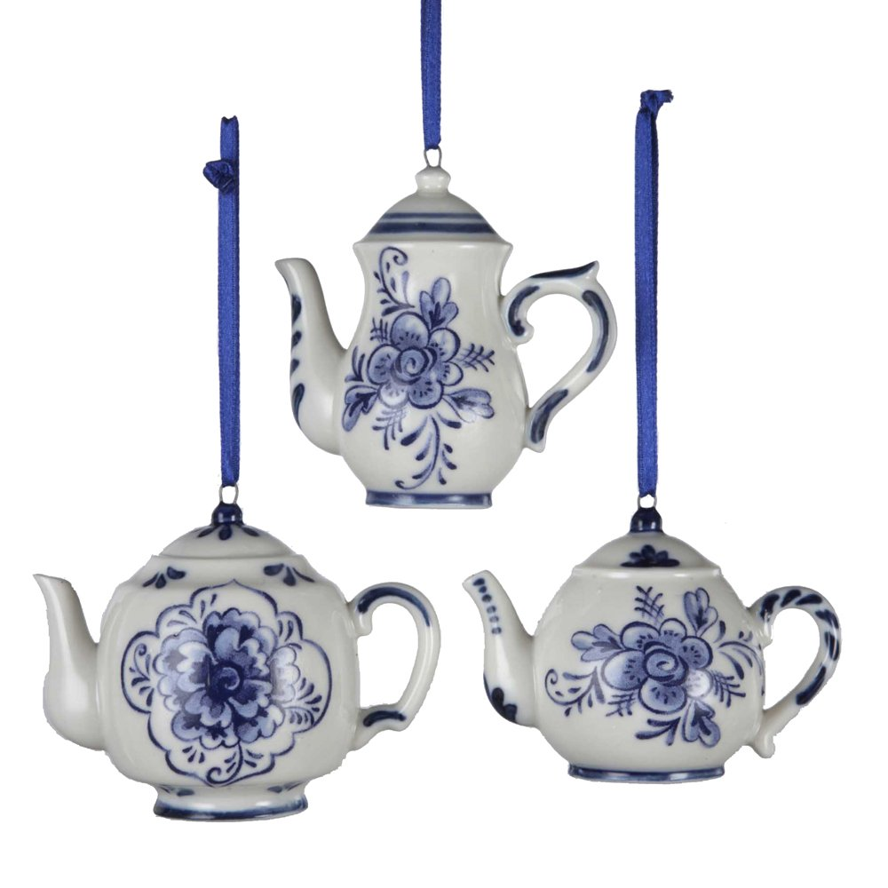 Kurt adler quot porcelain delft blue teapot ornament set