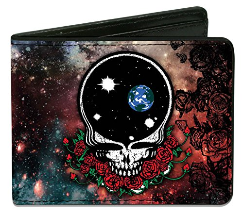 Buckle-Down PU Bifold Wallet - Space Your Face + Skull & Roses/Galaxy