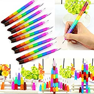 ANGELS-4pcs 8 Colors Stacker Swap Building Block Pencils Children Gift 2016 New PRC