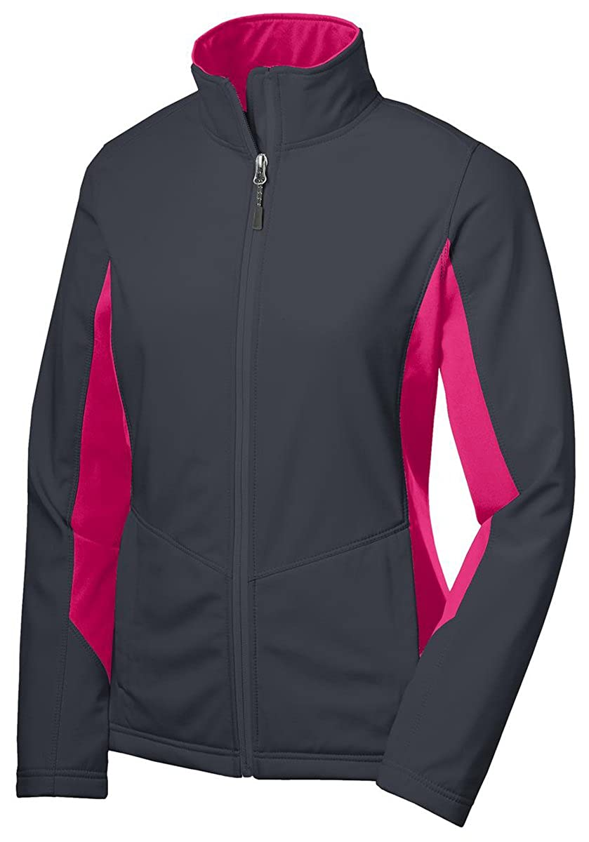 Battleship gris  Dark Rose X-grand Port Authority L318 Femme Polyester Core Couleurblock Softshell pour Homme