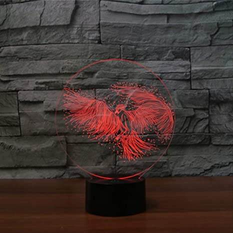 Arylic 3d Illusion Feu Phenix Oiseau Rouge Usb Led Nigh ...
