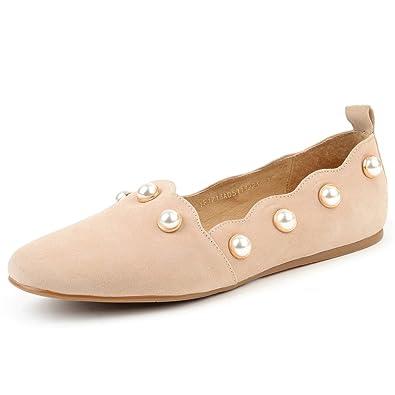 c5a25d212 Yonge & Finch Women Comfortable Pink Faux Pearl Slip On Suede Ballet Flats  ...