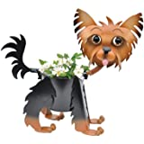 "Painted Yorkie Planter - Dog Indoor or Outdoor (Garden) Décor Plant Stands. Holds 4"" Pots - 10.5"" Inches Tall"