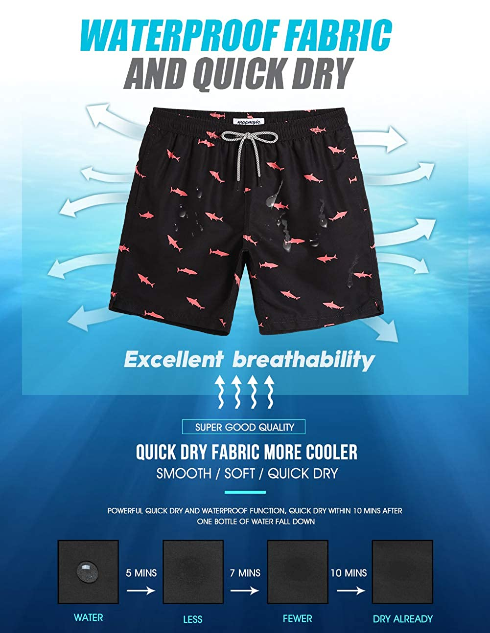 b964047eb21 MaaMgic Men's Short Swim Trunks,Slim Fit Quick Dry Board Shorts with Mesh  Lining: Amazon.ca: Clothing & Accessories