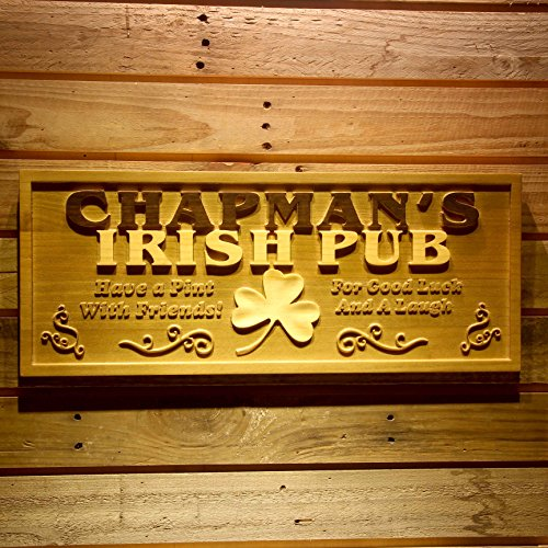 Irish Pub Sign - AdvPro Wood Custom wpa0125 Name Personalized Irish Pub Shamrock Wood Engraved Wooden Sign - Standard 23