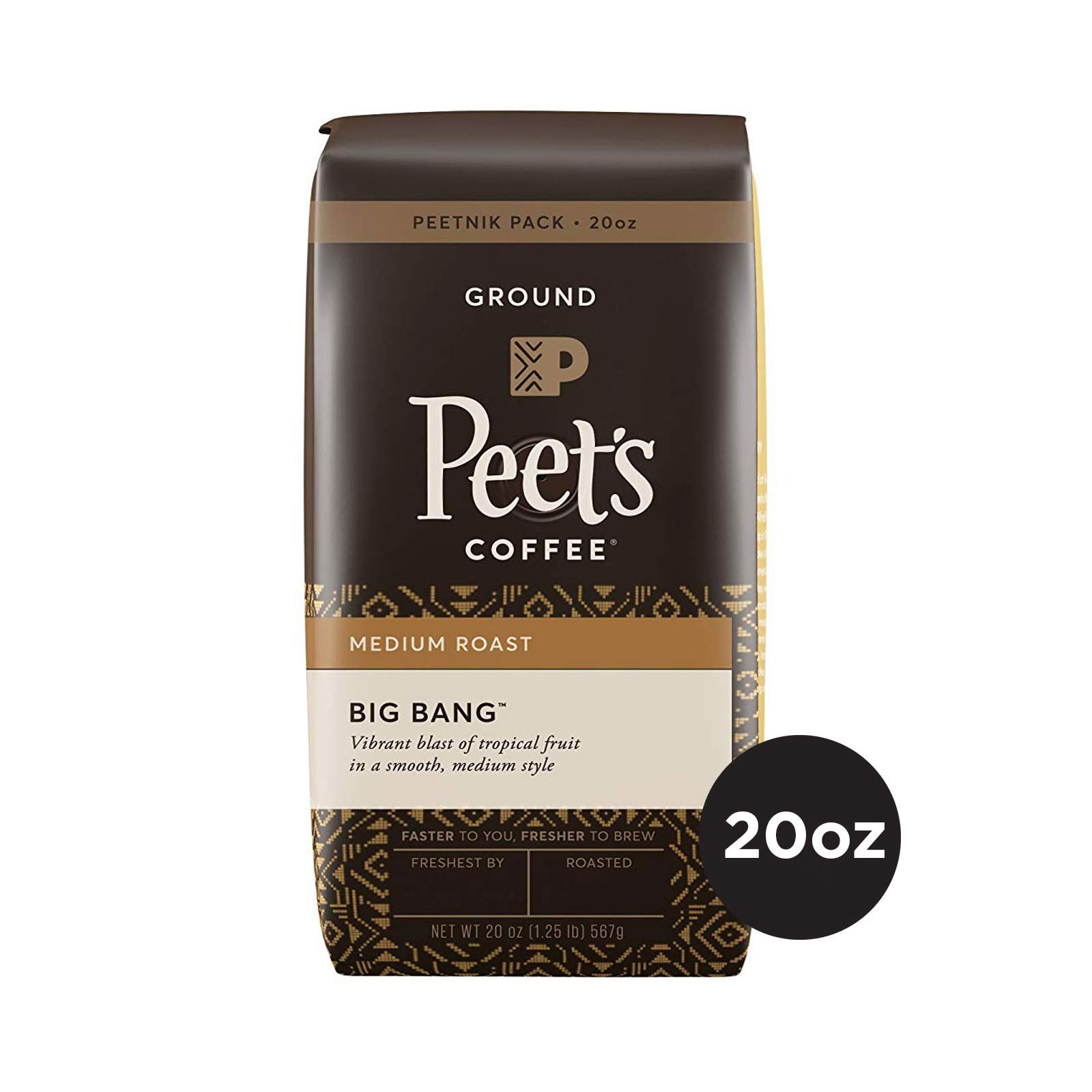 Peet's Coffee Big Bang, Medium Roast Ground Coffee, 20 Ounce Peetnik Pack, Direct Trade Coffee
