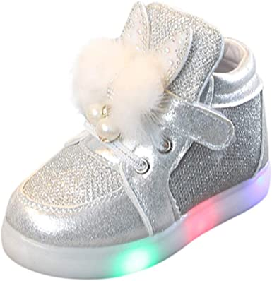 Yezijin Kids Baby Infant Girls Crystal Bowknot LED Luminous Boots Sport Shoes Sneakerss for 1-6 Year Old