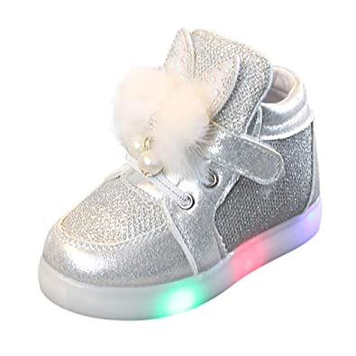 4c327397f30b9 Xmiral Chaussure Enfants Filles Bebe Baskets Cartoon Lapin Sport Lumineux  LED (21 EU
