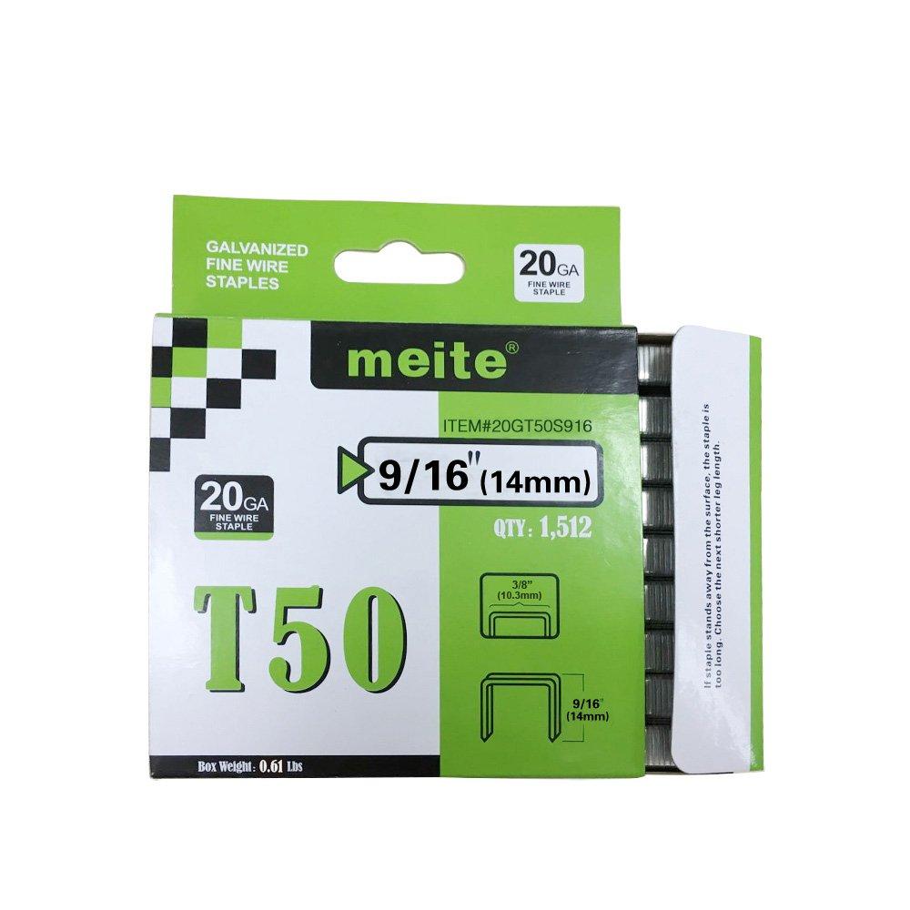 meite 20GT50S916 Arrow Genuine T50 Series 9/16-Inch Leg Length Staples 1512-Pack (5 Packs)