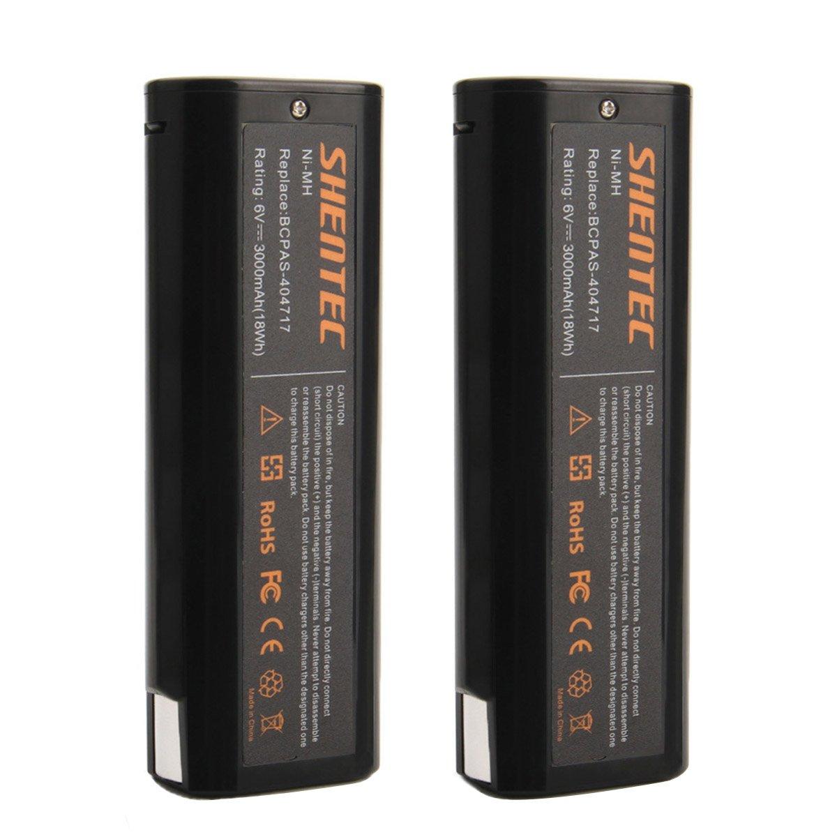 Shentec 2pcs 3.0Ah 6V Replacement Battery Compatible with Paslode 404717 B20544E BCPAS-404717 404400 900400 900420 900421 900600 901000 902000 B20720 CF-325 IM200 F18 IM250 IM250A IM350A PS604N, Ni-MH
