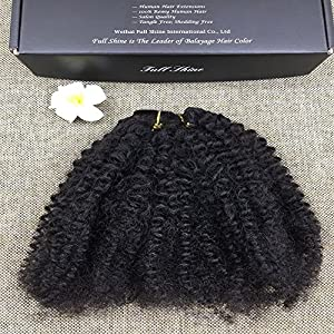 "Full Shine 14"" 7 Pieces 100g Afro Curly Hair Clip Ins For African Hair Extensions American Women Natural Hair Full Head Clip In Remy Human Hair Extensions Curly Black Remy Human Hair for Black Women"