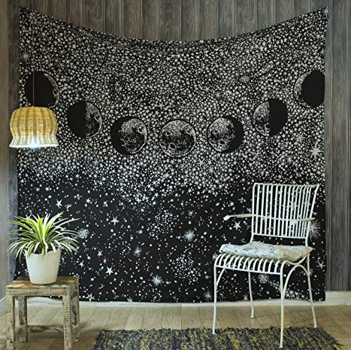 (Popular Handicrafts Moon Eclipse Tapestry, Universe Galaxy Tapestry, Starry Night Sky Tapestry Wall Hanging for Living Room Bedroom Dorm Black & White)