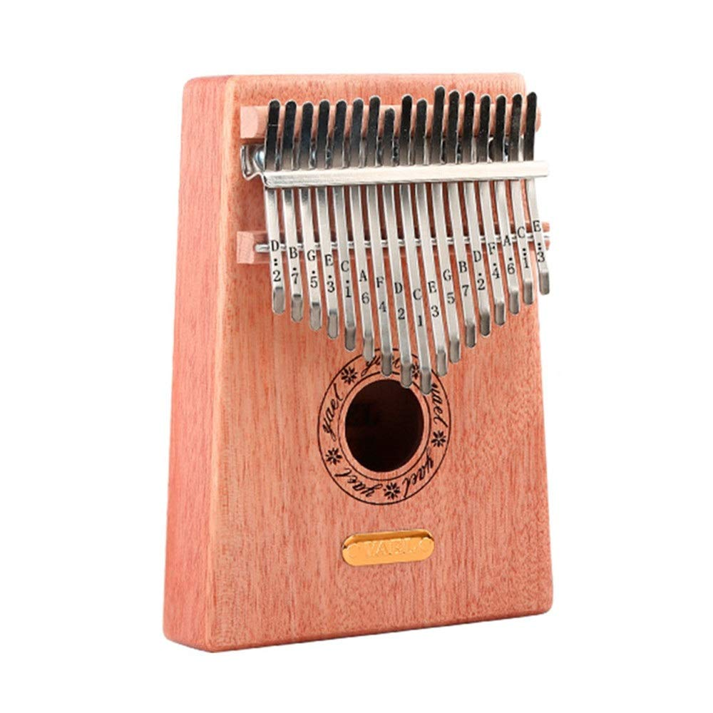 Natural Wood 17 Keys Portable Kalimba Thumb Piano Standard C Tune Finger Piano Metal Engraved Notation Tines With Tuning Hammer Pickup Carry Bag Kids Musical Instrument Gifts for Music Lover Beginners