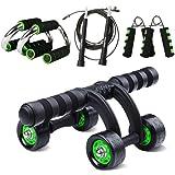 凯速KANSOON 健身四件套装 四轮健腹轮 跳绳 握力器 俯卧撑支架
