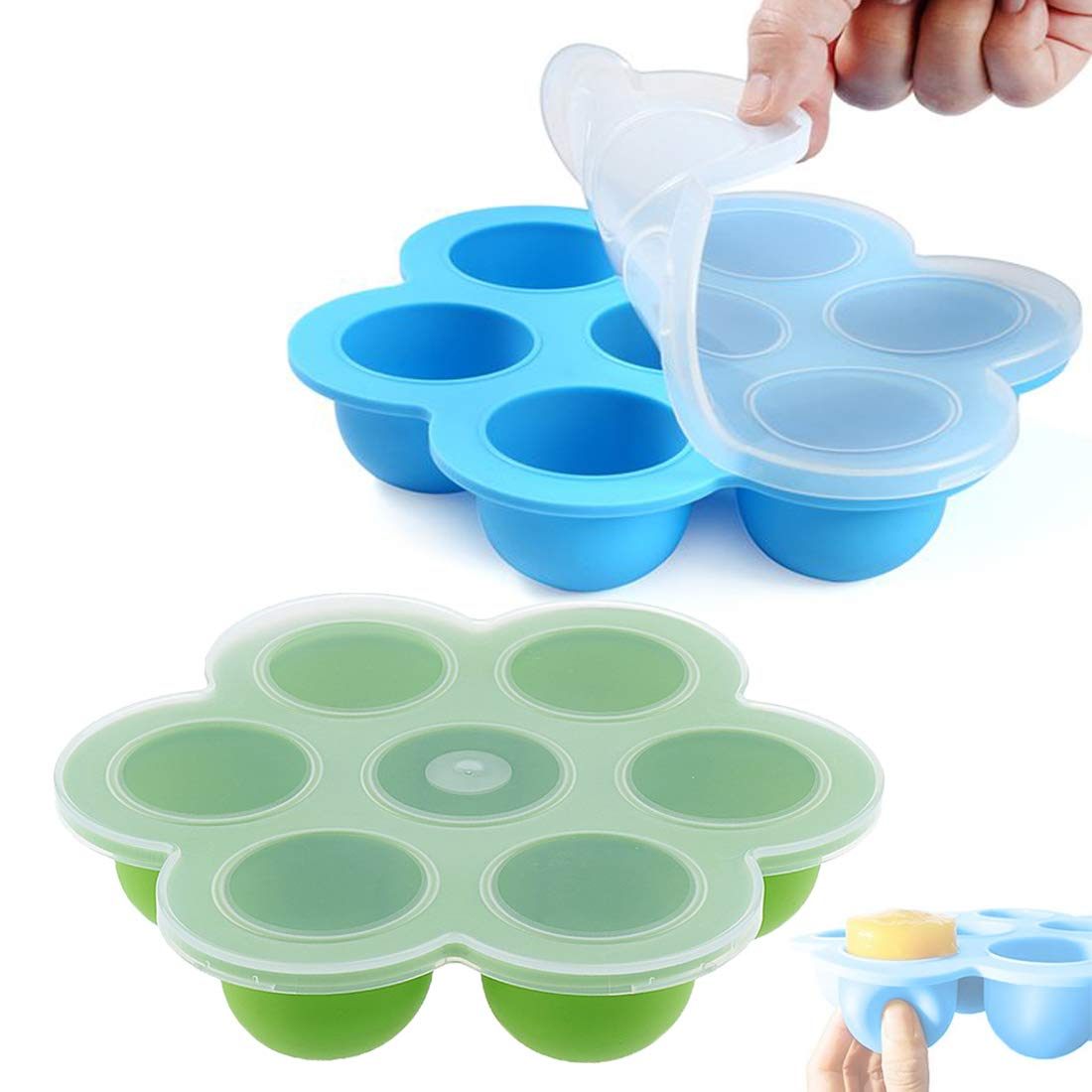 Nywoja Baby Food Storage Tray Silicone With Lid Egg Bite Molds Pressure Cooker Food Storage Freezer Tray Container Baking Mold FDA Approval Eco-friendly for 6/8 Quart Instant Pot Sous Vide Oven 2 Pack